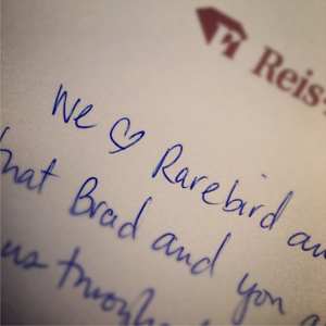 I'M THANKFUL THAT PEOPLE FEEL THIS WAY ABOUT THE TEAM AT @RAREBIRDINC. THANKS @REISNICHOLS!